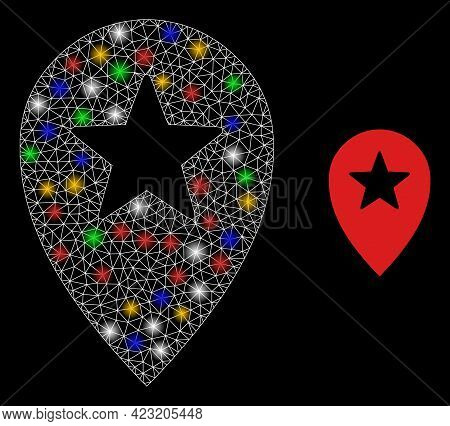 Bright Mesh Web Star Place Marker With Multi Colored Bright Dots. Illuminated Vector Mesh Created Fr