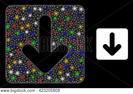 Glare Mesh Net Down Cursor With Colorful Light Spots. Illuminated Vector Structure Created From Down