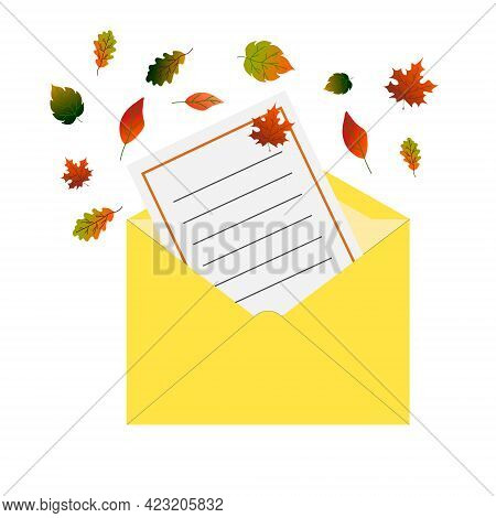 Yellow Mail Envelope. Letter With Autumn Leaves Design. Vector Illustration Isolated On White Backgr
