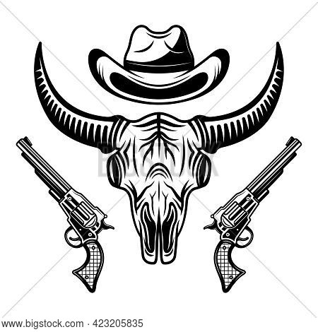 Buffalo Skull, Cowboy Hat And Two Pistols Vector Black Illustration Isolated On White Background