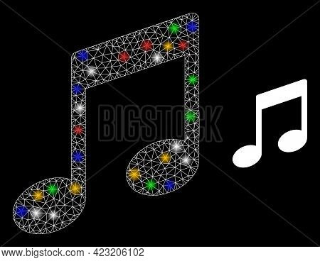 Glowing Mesh Net Musical Notes With Colorful Glowing Spots. Constellation Vector Mesh Created From M