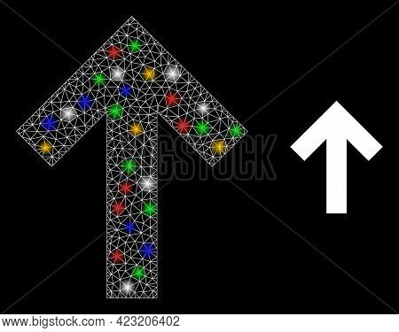 Glare Mesh Network Up Direction Arrow With Multicolored Bright Dots. Constellation Vector Frame Crea