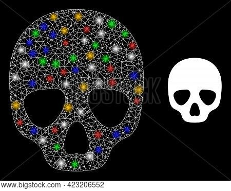 Flare Mesh Net Skull With Colorful Glowing Spots. Constellation Vector Mesh Created From Skull Symbo