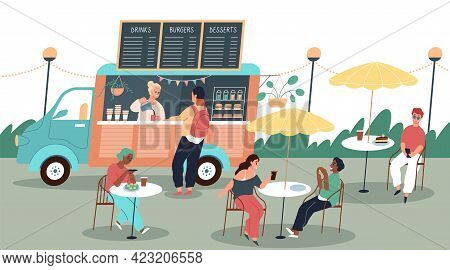 People Eat Street Food. Happy Visitors Summer Mobile Cafe, Coffee Shop Wheels, Hipster Drink Truck,