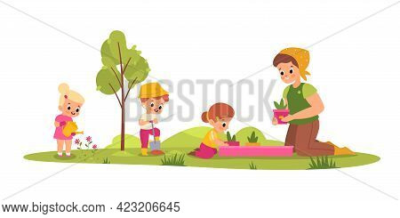 Children Botany Lesson. Young Students With Teacher Learn Take Care Plants, Little Gardeners, Woman