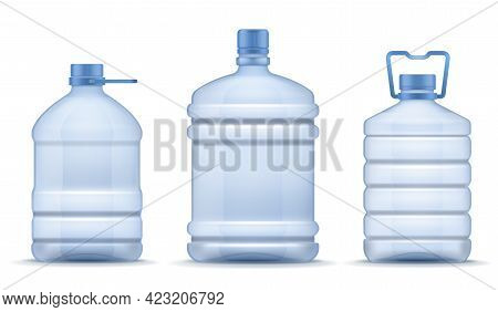 Plastic Empty Bottle. Realistic Containers For Mineral, Carbonated And Soft Beverages. Blue Package