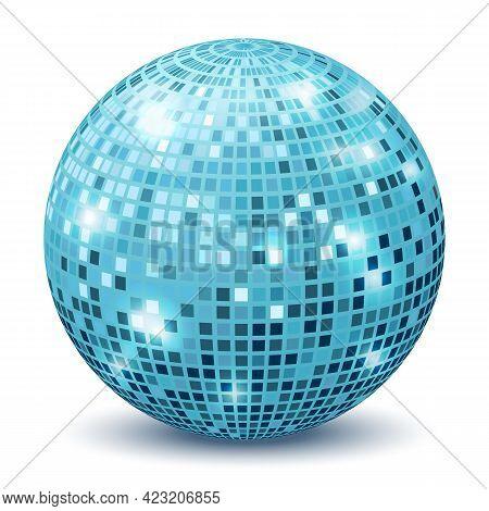 Realistic Disco Ball. Reflection Sphere Mirrored Dance Party Silver Blue Glitter. Retro Halo Rays, S