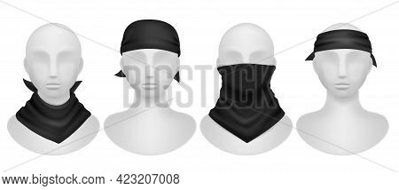 Black Bandana. Realistic Mannequins Mockup With Different Style Dark Kerchief, Wearing Options Buffs