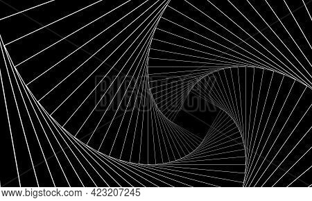 Abstract Geometric Banner. Swirling White Lines On A Black Background. Whirl Square, Wave Stripes, R