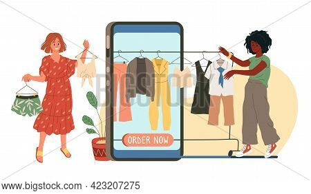 Online Shopping. Huge Smartphone With Order Now Text On Screen, Women Choose Clothes, Buying Product