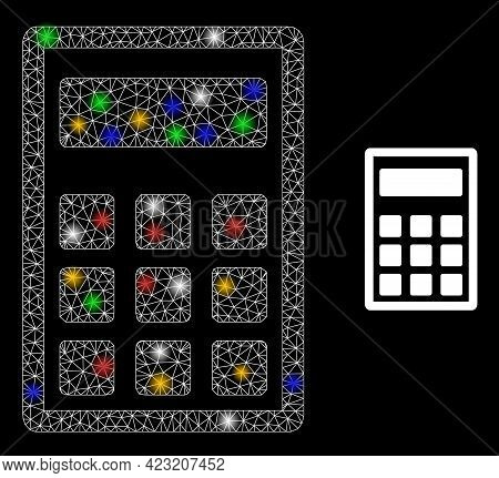 Bright Mesh Web Calculator With Multicolored Lightspots. Constellation Vector Carcass Created From C