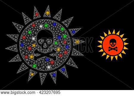 Bright Mesh Net Death Sun Radiation With Vibrant Bright Dots. Illuminated Vector Mesh Created From D