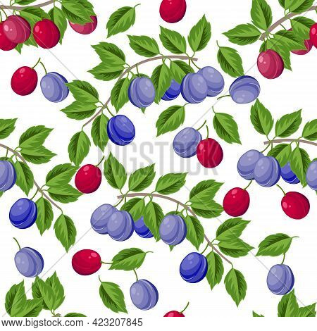 Plum Branch With Leaves And Ripe Bright Purple And Blue Fruits, Seamless Summer Pattern, Vector Illu