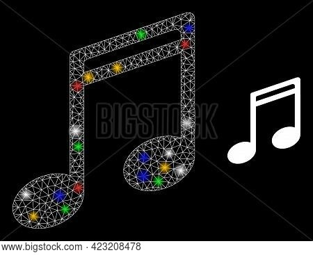 Bright Mesh Network Music Notes With Colored Light Dots. Constellation Vector Mesh Created From Musi