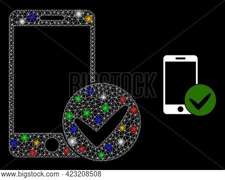 Glowing Mesh Network Approved Smartphone With Colored Glowing Spots. Constellation Vector Mesh Creat