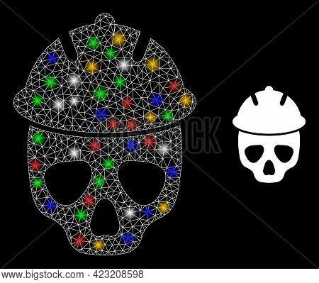 Glare Mesh Network Safety Helmet Skull With Colorful Flash Nodes. Constellation Vector Framework Cre