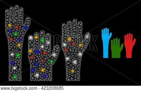 Shiny Mesh Net Voting Hands With Colored Lightspots. Illuminated Vector Mesh Created From Voting Han