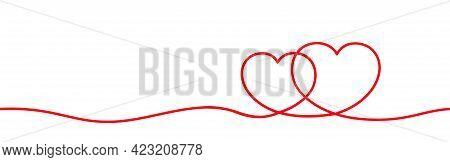 Double Heart Shape Line Art Continuous Red, Hand Drawn Graphic Concept, Doodle Heart Art Line, Illus