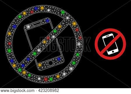 Flare Mesh Net Smartphone Restricted With Multicolored Light Spots. Illuminated Vector Frame Created