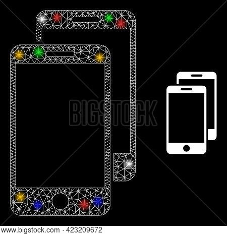 Bright Mesh Network Smartphones With Multicolored Light Dots. Illuminated Vector Mesh Created From S