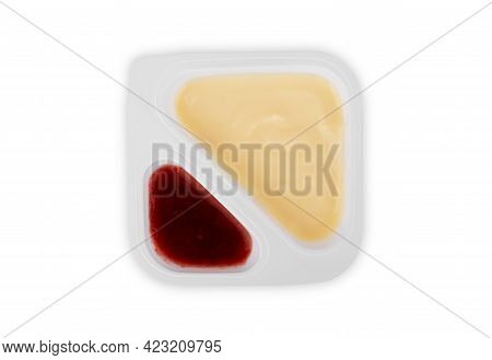 Abstract Background With Jam And Cream Topping, Gourmet, Berry, Product, Scoop, Sweet, Red, Pink, Gr