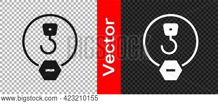 Black Industrial Hook Icon Isolated On Transparent Background. Crane Hook Icon. Vector