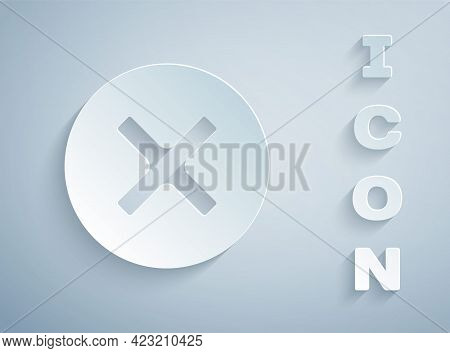 Paper Cut X Mark, Cross In Circle Icon Isolated On Grey Background. Check Cross Mark Icon. Paper Art
