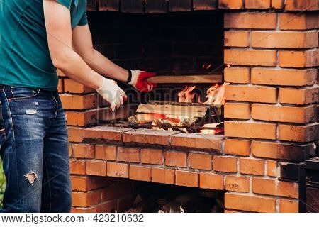 Stone Garden Oven For Grill Or Barbeque Is In A Backyard