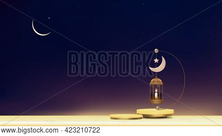 Eid Mubarak Card,traditional Islamic Lantern,candle And Crescent Moon Hanging On Podium With Sunset