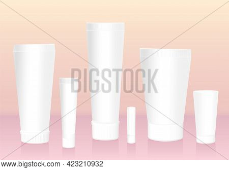 Cosmetic Tubes Collection. Blank, Unlabeled, White Template, Containers, Different Variations And Si