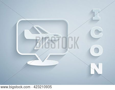 Paper Cut Plane Icon Isolated On Grey Background. Flying Airplane Icon. Airliner Sign. Paper Art Sty