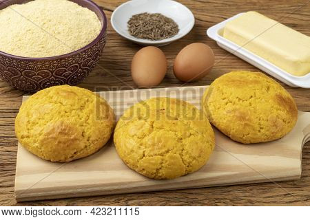 Broa, Typical Brazilian Corn Flour Bread With Ingredients. Butter, Eggs, Herbs And Fuba, Corn Flour.
