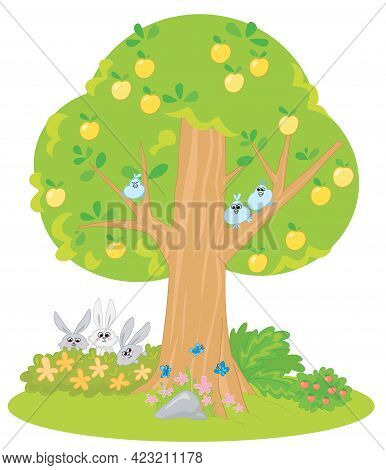Cartoon Yellow Apple Tree With 3 Cute Birds, 3 Bunnies And 3 Butterflis Vector Illustration For Chil