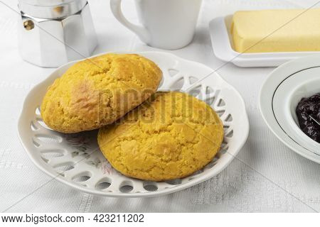 Broa, Typical Brazilian Corn Flour Bread With Coffee,jam And Butter.