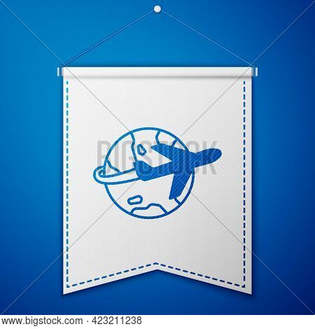 Blue Globe With Flying Plane Icon Isolated On Blue Background. Airplane Fly Around The Planet Earth.