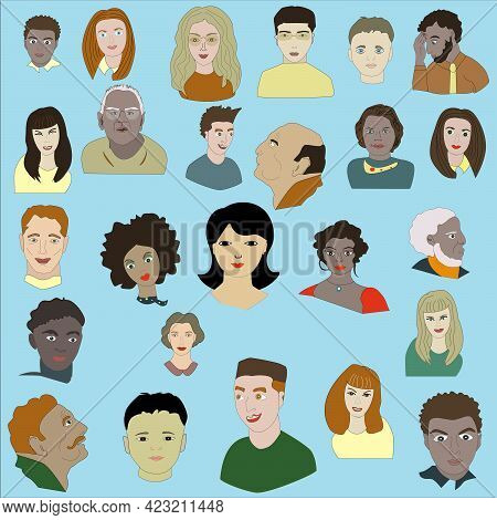 People Of Different Ages And Nationalities. Black, Colored, White, Asians.