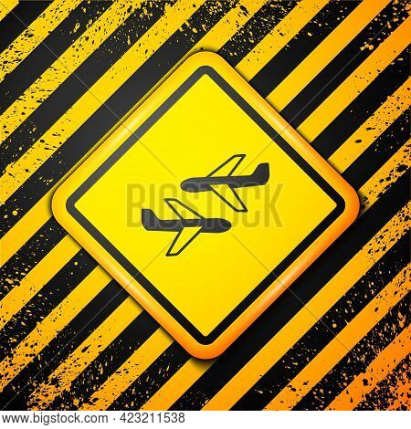 Black Plane Icon Isolated On Yellow Background. Flying Airplane Icon. Airliner Sign. Warning Sign. V