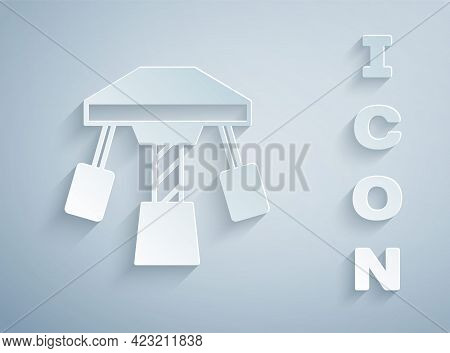 Paper Cut Attraction Carousel Icon Isolated On Grey Background. Amusement Park. Childrens Entertainm