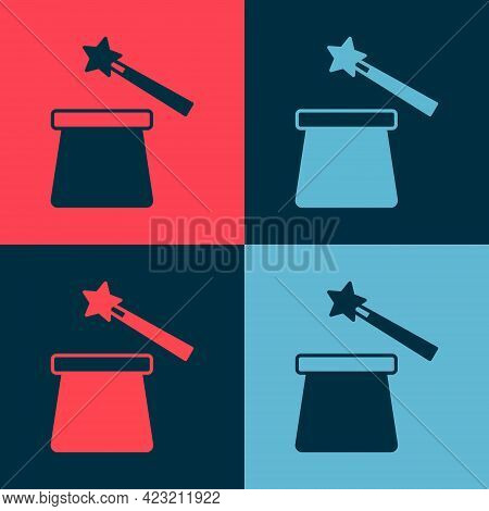 Pop Art Magic Hat And Wand Icon Isolated On Color Background. Magic Trick. Mystery Entertainment Con