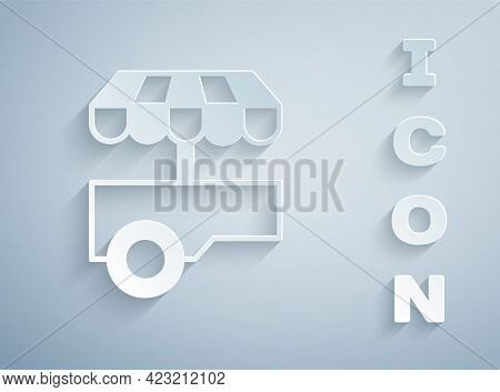 Paper Cut Fast Street Food Cart With Awning Icon Isolated On Grey Background. Urban Kiosk. Paper Art