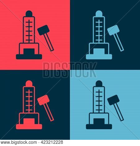 Pop Art High Striker Attraction With Big Hammer Icon Isolated On Color Background. Attraction For Me