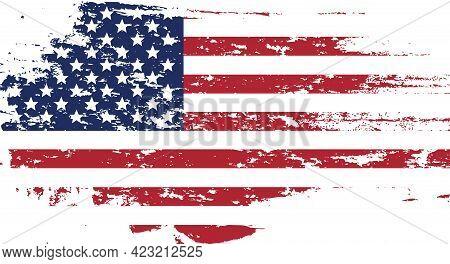 Usa Flag In Grunge Style. Brush Stroke Usa Flag.old Dirty American Flag. American Symbol. Raster Ill
