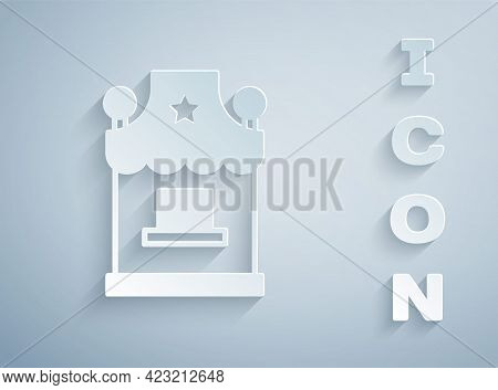 Paper Cut Ticket Box Office Icon Isolated On Grey Background. Ticket Booth For The Sale Of Tickets F