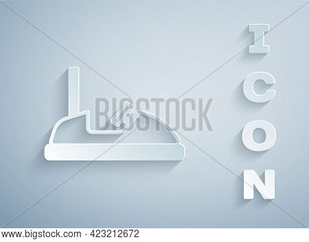 Paper Cut Bumper Car Icon Isolated On Grey Background. Amusement Park. Childrens Entertainment Playg