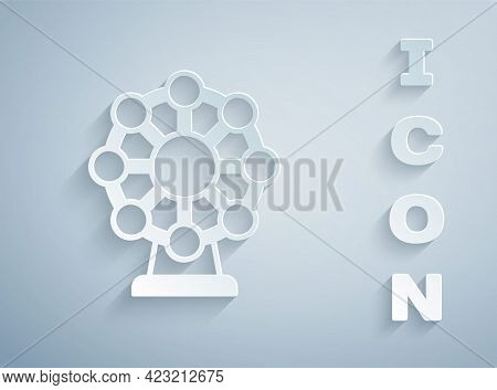Paper Cut Ferris Wheel Icon Isolated On Grey Background. Amusement Park. Childrens Entertainment Pla