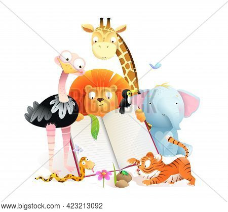 Montessori African Animals Class Reading A Book And Studying. Giraffe Tiger Lion Elephant And Ostric