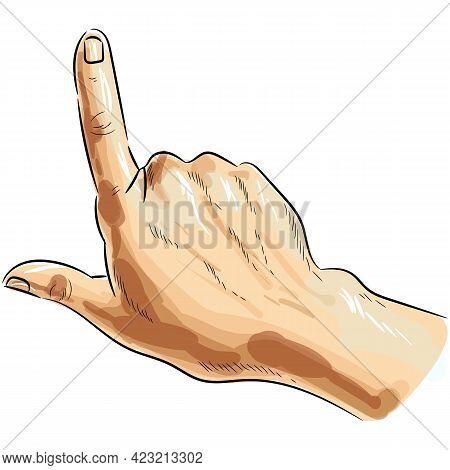 Finger Point Hand Up Vector Pop Art Sign On White