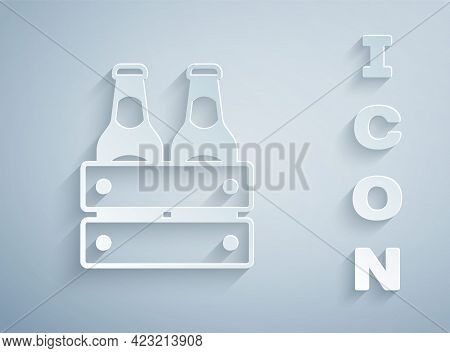 Paper Cut Pack Of Beer Bottles Icon Isolated On Grey Background. Wooden Box And Beer Bottles. Case C