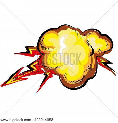 Vector Lightning Blast With Explosion And Smoke Icon