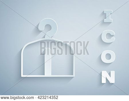 Paper Cut Hanger Wardrobe Icon Isolated On Grey Background. Cloakroom Icon. Clothes Service Symbol.